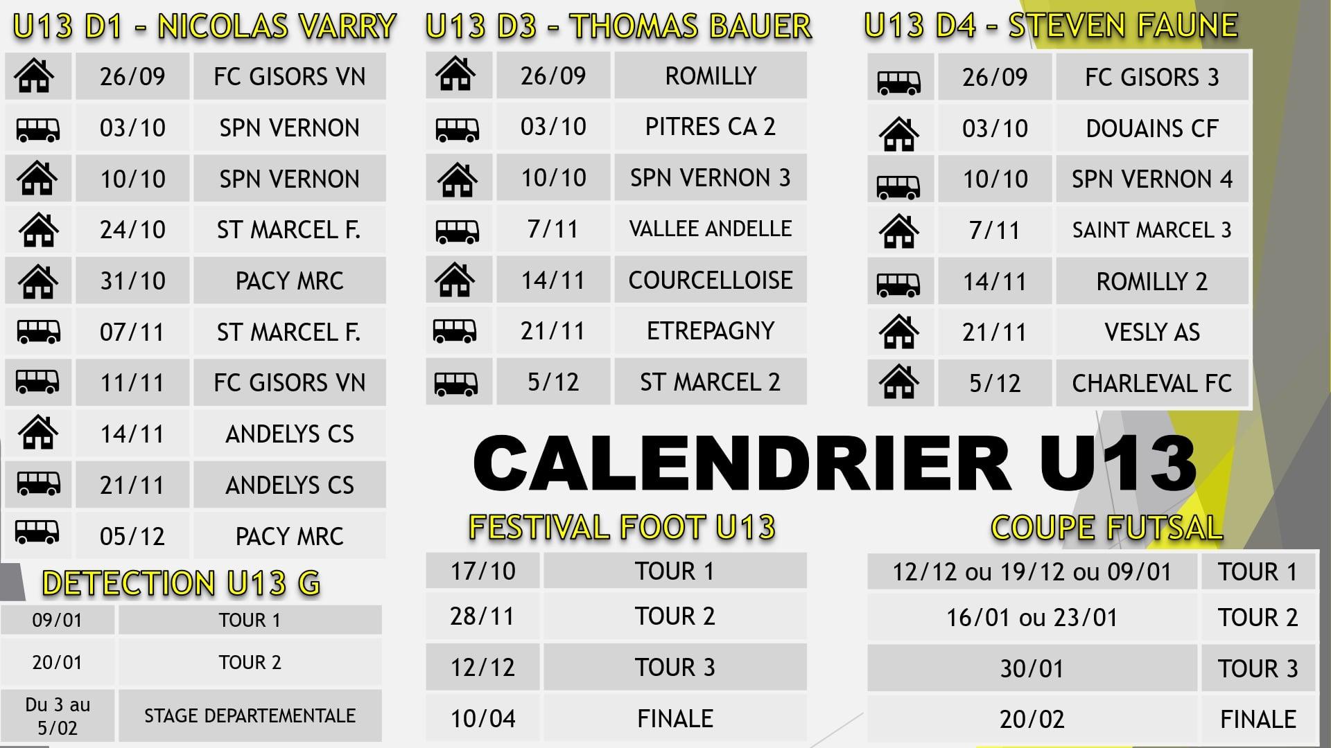calendrier u13