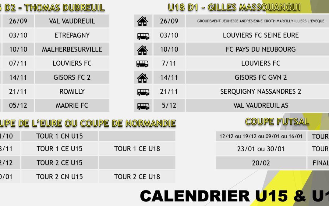 Calendriers de nos U13, U14F, U15 & U18
