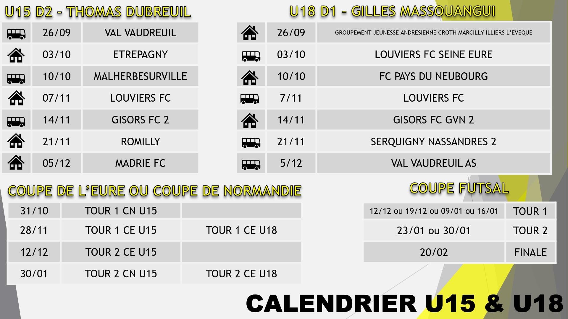calendrier u15 - u18